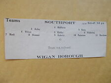 Southport V Wigan Borough Football Programme Team Sheet From 1933