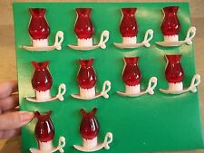 10 VTG.CHRISTMAS LIGHTS-RED LANTERNS WITH WHITE BASE-RADIANT-IOB-UNUSED-DECOR
