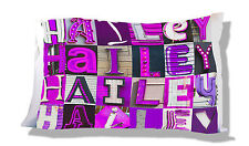 Personalized Pillowcase featuring HAILEY in photo of PURPLE sign letters