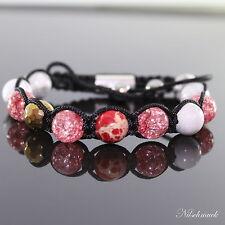 Damen Rot Impression Edelstein Perlen Shamballa Armband für Frauen ,verstellbar