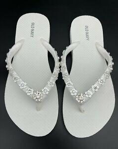 White Rhinestone Flower Bridal Flip Flops Beach Wedding Flip Flops WOMEN Size 11