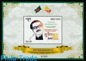 Bhutan 2020 Birth Centenary of Mujibur Rahman of Bangladesh, MS MNH