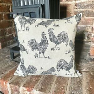 907. Chickens Noir 100% Linen Cushion Cover Various sizes
