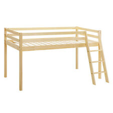 Kids Bunk Bed Mid Sleeper Wooden Pine Cabin Bed with Mattress and Ladder