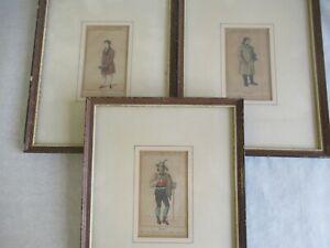 3 kleine alte Kupferstiche coloriert  sign. Lohse Biedermeier um 1830 Männer