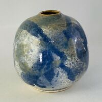 "Blue, Cream & Brown Artisan Made Wheel Thrown Studio Art Pottery Vase 4.375"" EUC"