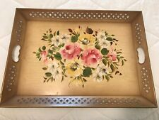 "Antique Tole Tray Serving Butler Mantle Display w/ Hand Painted Flowers 16""x22"""