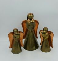 Vintage  Trio Of Brass And Copper Angel Taper Candle Holders