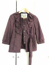 Anthropologie TABITHA Women Purple Wool Coat sz 2 ~Layered Ruffle + Fully Lined