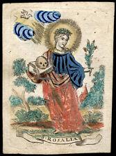 santino incisione 1600 S.ROSALIA V. DI PALERMO dip. a mano C. DE BOUDT