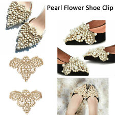 1 Pair Pearl Flower Shoe Clip Removable Pointed Rhinestones Shoes Decoration-RO