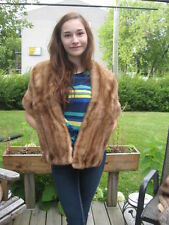 "#A58 beautiful pastel brown mink Fur stole wrap 53"" in long"