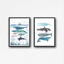 Whale Stack Under The Sea Set Of 2 Watercolour Painting PRINT 8x10 Wall Art