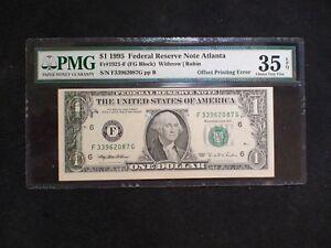 1995 $1 Fed Reserve PMG VF35 EPQ OFFSET PRINTING ERROR NOTE Atlanta Bill BUY IT!