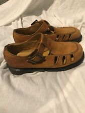 Vtg Dr Martens Docs Brown Fisherman Sandals Sz 7 Light Tan Solid Shoes England