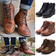 Men Boots Motorcycle Booties PU Leather Lace Up Fashion Autumn Winter Shoes