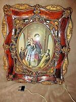 Ancien tableau lumineux religieux-verre bombé-Notre Dame de Rosario-Ave Maria