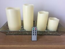 QVC~Home Reflections LED Candle Set, Glass Tray & Marbles -Remote Control BNIB