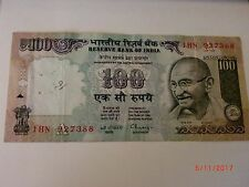 - India Paper Money- One Old 'Mg' Note- Rs. 100/-Year 'Nil' -C.Rangarajan # E24i