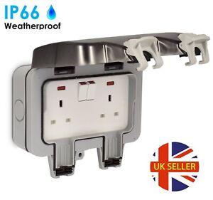13A Outdoor Waterproof 2 Gang Switched Twin Double Socket IP66 UK Plug Outside