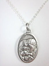 "Ladies Holy Family Holy Spirit Medal Italy Pendant Necklace 20"" Chain Gift Box"