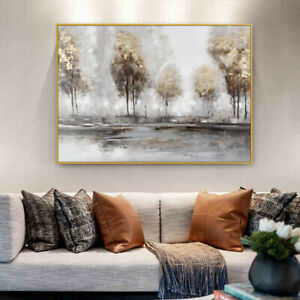 """HH554 Modern simplicity 32"""" Hand-painted Scenery oil painting Forest Unframed"""