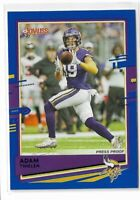 2020 Panini Donruss football Blue press proof photo Variation #160 Adam Thielen