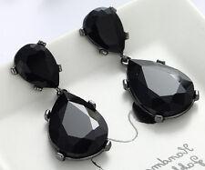 1 Pair Elegant Black Crystal Rhinestone  Ear Drop Dangle Stud long Earrings 192