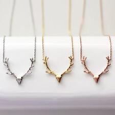 Christmas Deer Reindeer Elk Stag Horn Antler Pendant Necklace Adjustable Chain Rose Gold