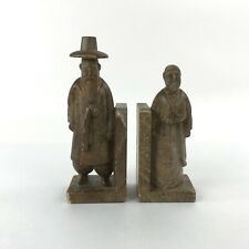 Vintage Pair Carved Stone Bookends Solid Asian Man and Woman Set Unbranded
