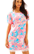 Lilly Pulitzer Sparkling Blue FAN TASTIC TILLA DRESS Easy Tunic Fringe XXS - NWT