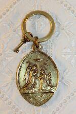 More details for vintage religious brass st johannes/ st john / guardian angel medal keyring