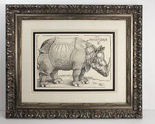 """Impressive 1800s Albrecht DURER B136 Woodcut """"The Rhinoceros"""" SIGNED Framed COA"""