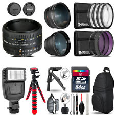 Nikon AF 50mm 1.8D -3 Lens Kit + Slave Flash + Tripod - 64GB Accessory Bundle