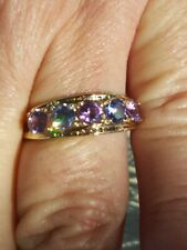 Tanzanite and Alexandrite Round Cut 5 Stones Ring 10kt Solid Yellow Gold