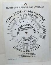 Northern Illinois Gas Cubic Feet of Gas Per Hour Pipe Size Determination Card