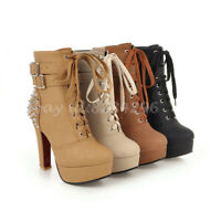 Popular Ankle Stiefeletten Damen High Heels Gr34-48 Kurzer Stiefel Boots Platfom