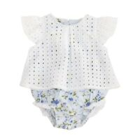 Mud Pie E8 Still Blooming Baby Girl Eyelet Blue Floral Overlay Crawler 1132361