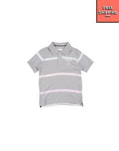 REFRIGUE Polo Shirt Size 6Y Striped Glued Logo Short Sleeve Regular Collar