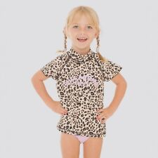 BNWT BILLABONG KIDS GIRLS LION HEARTED LEOPARD WETSHIRT & PANT SET (4) LAST ONE