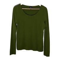 Eileen Fisher Medium Top Olive Green Silk Long Sleeve Scoop Neck T-Shirt *FLAW*