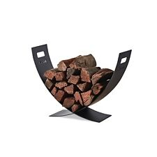 Scandia Design Fireplace Fire Place Firewood Log Holder Steel Curved Cantilever