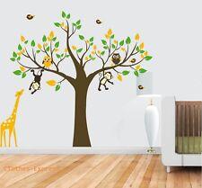 Monkey Owl Elephant Giraffe Bird Nursery Wall Stickers Decals Girl Children Kids
