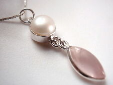 Freshwater Pearl and Rose Quartz Marquise Necklace 925 Sterling Silver New
