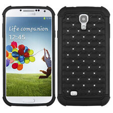 For Samsung Galaxy S4 S IV HYBRID IMPACT Dazzling Diamond Phone Case Cover Black