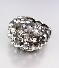 CHUNKY Sparkle Black Crystals Oval Dome Stretch Cocktail Ring