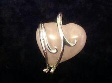 Fine Sterling Silver Chunky Pink Rose Quartz Love heart pendant Healing chakra