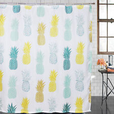 Shower Curtain Pineapple Printed Waterproof Polyester Fabric with Hooks Bathroom