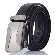 Fashion Mens Automatic Buckle Belt Black Leather Belts Ratchet Waistband Leisure