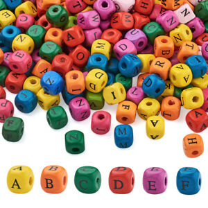 500pcs 10mm Cube Natural Wood Letter Large Hole Beads Alphabet Loose Spacer Bead